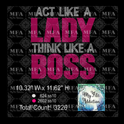 Act Like A Lady Think Like A Boss Rhinestone Digital Download File - My File Addiction