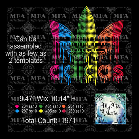 Adidas Multicolor Drip Rhinestone Digital Download File