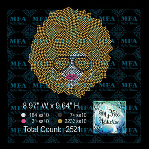 Afro Lady 6 Rhinestone Digital Download File - My File Addiction