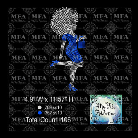 Afro Lady Lifting Leg Rhinestone Digital Download File - My File Addiction