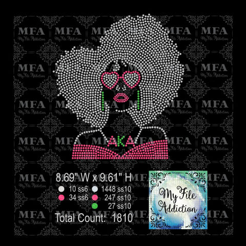 Afro Lady with Glasses AKA Rhinestone Digital Download File - My File Addiction