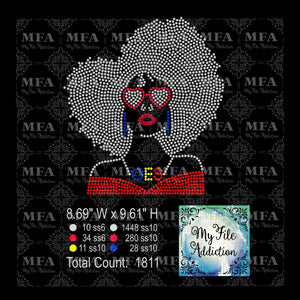 Afro Lady with Glasses OES Rhinestone Digital Download File - My File Addiction