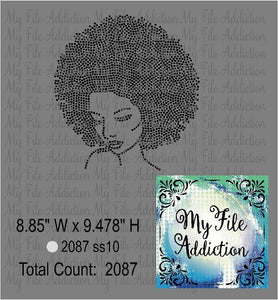 Afro Woman Rhinestone Digital Download File - My File Addiction