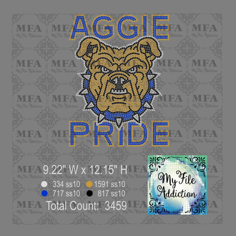 Aggie Pride Bulldog Rhinestone Digital Download File - My File Addiction