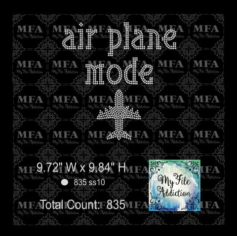 Air Plane Mode Rhinestone Digital Download File - My File Addiction