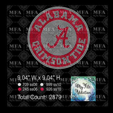 Alabama Circle Rhinestone Digital Download File - My File Addiction