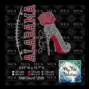 Alabama Rose Stiletto High Heel Shoe Rhinestone Digital Download File - My File Addiction