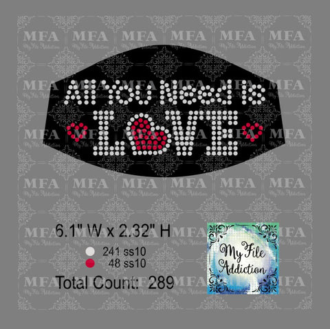 All You Need Is Love Small Rhinestone Digital Download File
