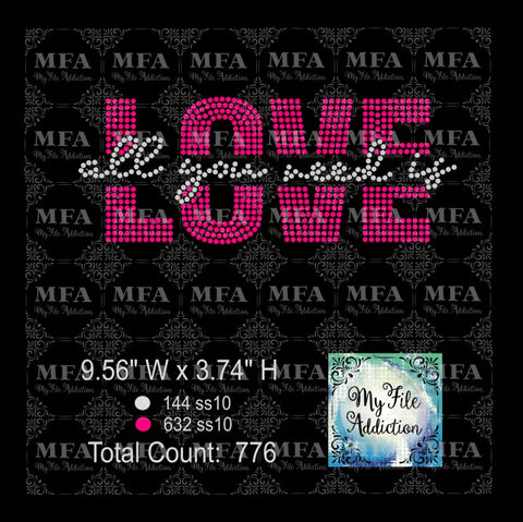 All You Need Is Love Rhinestone Digital Download File