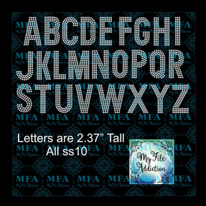 Arial 3 Rows Upper Rhinestone Digital Download File - My File Addiction