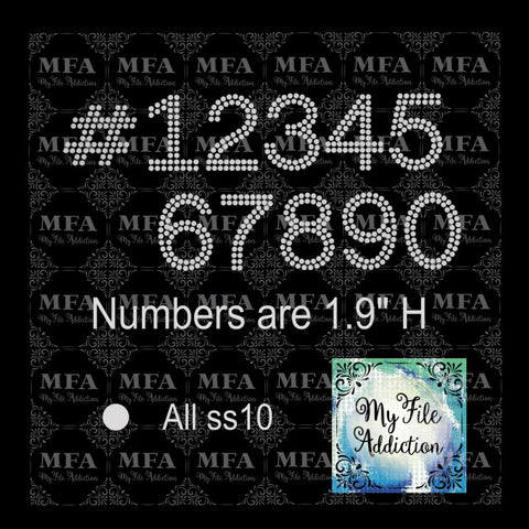 "1.9"" Arial Numbers Rhinestone Digital Download File - My File Addiction"