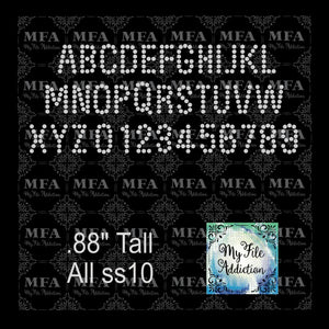Arial Small Font Letters and Numbers Rhinestone Digital Download File - My File Addiction