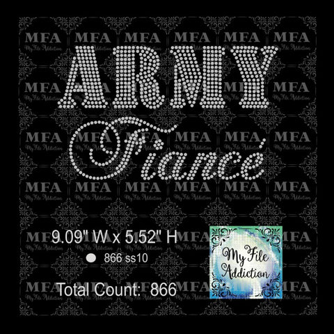 Army Fiance Rhinestone Digital Download File - My File Addiction