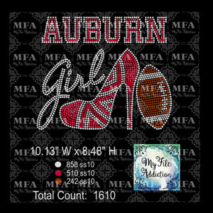 Auburn High Heel Shoe with Football Rhinestone Digital Download File - My File Addiction