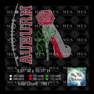 Auburn Rose Stiletto High Heel Shoe Rhinestone Digital Download File - My File Addiction