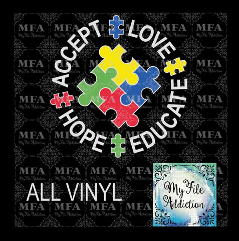 Autism Accept Love Hope Educate Vector Digital Download File
