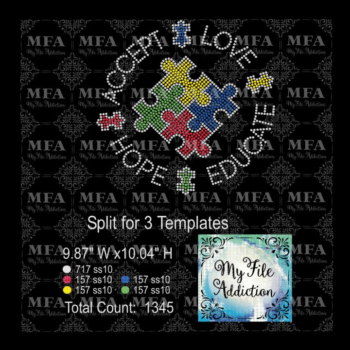 Autism Accept Love Hope Educate Rhinestone Digital Download File - My File Addiction
