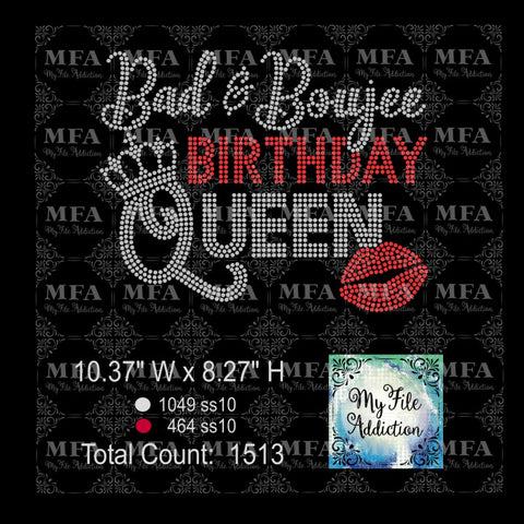 Bad & Boujee Birthday Queen Rhinestone Digital Download File - My File Addiction