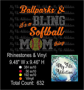 Ballparks and Bling Softball Rhinestone & Vector Digital Download File - My File Addiction