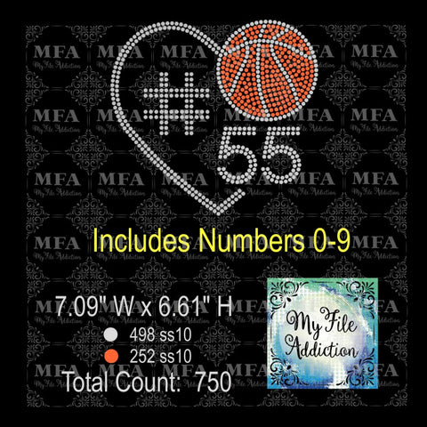 Basketball Heart With Numbers Rhinestone Digital Download File