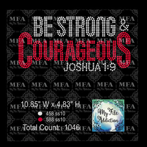 Be Strong & Courageous Rhinestone Digital Download File - My File Addiction