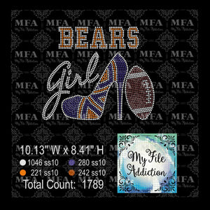 Bears Shoe With Football Rhinestone Digital Download File