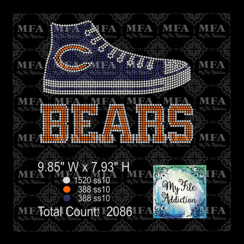 Bears High Top Rhinestone Digital Download File