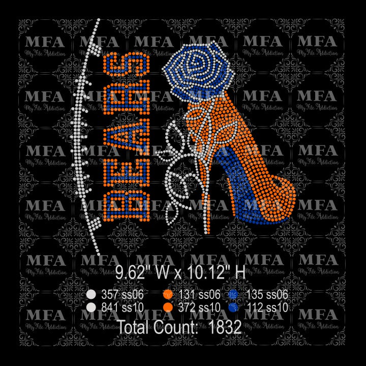 Bears Rose Stiletto High Heel Shoe Rhinestone Digital Download File - My File Addiction