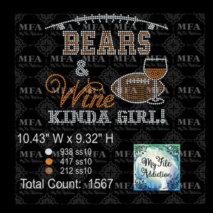 Bears & Wine Kinda Girl Football Rhinestone Digital Download File