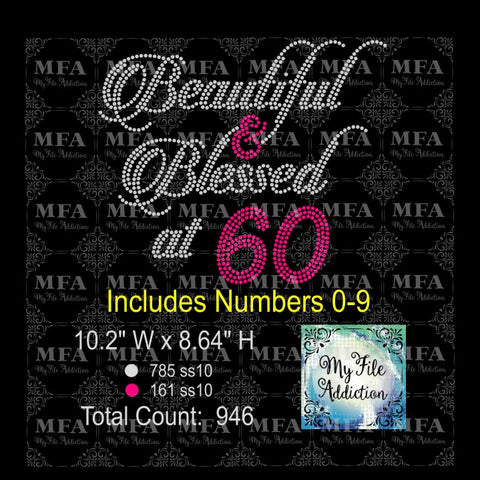 Beautiful & Blessed at Number Rhinestone Digital Download