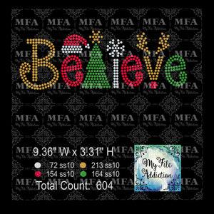 Believe Rhinestone Digital Download File - My File Addiction