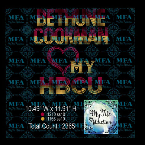 Bethune Cookman Love My HBCU Rhinestone Digital Download File - My File Addiction