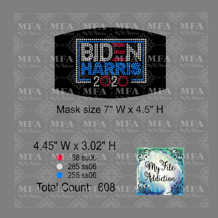Biden Harris 2 2020 Small Rhinestone Digital Download File