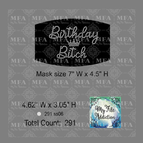 Birthday Bitch Small Rhinestone Digital Download File