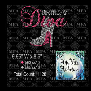 Birthday Diva 3 Stiletto Rhinestone Digital Download File
