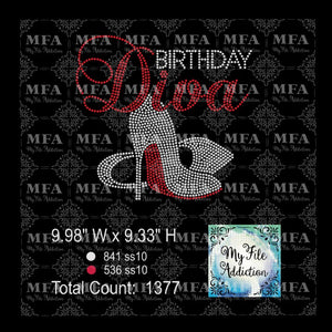 Birthday Diva 4 Stiletto Rhinestone Digital Download File