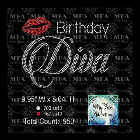 Birthday Diva 5 Rhinestone Digital Download File