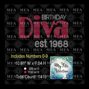 Birthday Diva Large & Est Numbers Rhinestone Digital Download File