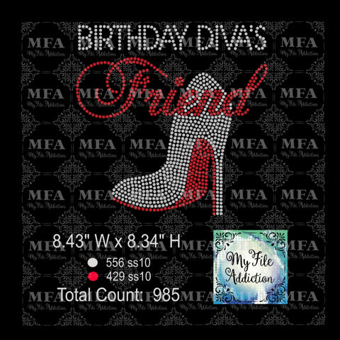 Copy of Birthday Diva's Friend Shoe Rhinestone Digital Download File