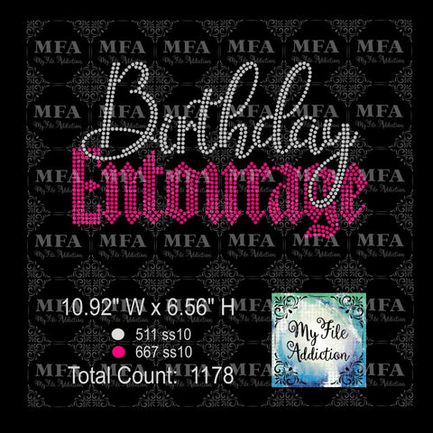 Birthday Entourage 2 Rhinestone Digital Download File - My File Addiction