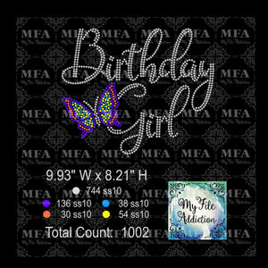 Birthday Girl Butterfly Rhinestone Digital Download File
