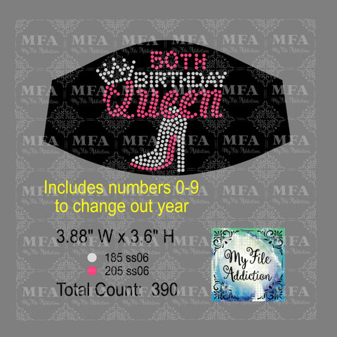 Birthday Number Queen Small Rhinestone Digital Download