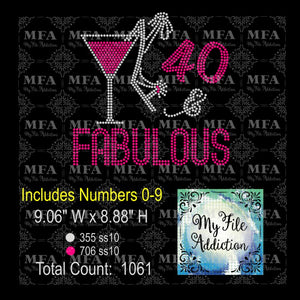 Birthday Number & Fabulous Martini with Shoe 1 Rhinestone Digital Download File - My File Addiction