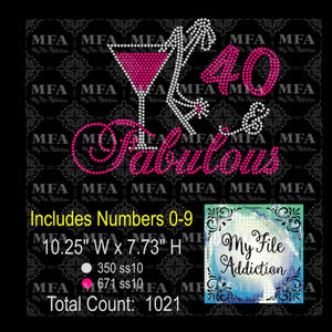 Birthday Number & Fabulous Martini with Shoe 2 Rhinestone Digital Download File