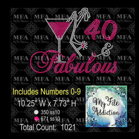 Birthday Number & Fabulous Martini with Shoe 2 Rhinestone Digital Download File - My File Addiction