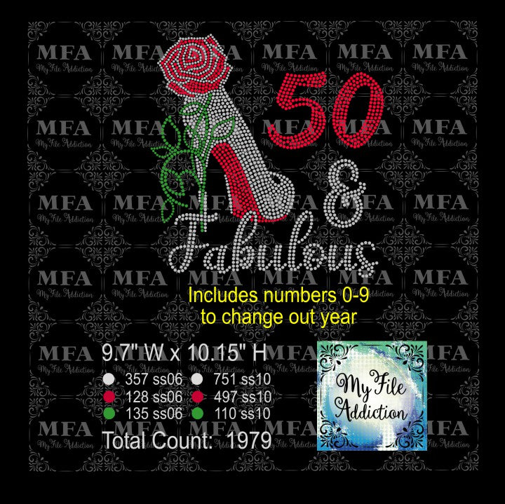 Birthday Number & Fabulous Rose Stiletto Rhinestone Digital Download - My File Addiction