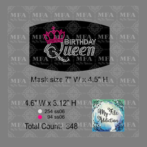 Birthday Queen Small Rhinestone Digital Download File - My File Addiction