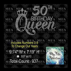Birthday Queen with Year Rhinestone Digital Download File - My File Addiction