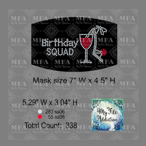 Birthday Squad Wine Small Rhinestone Digital Download File