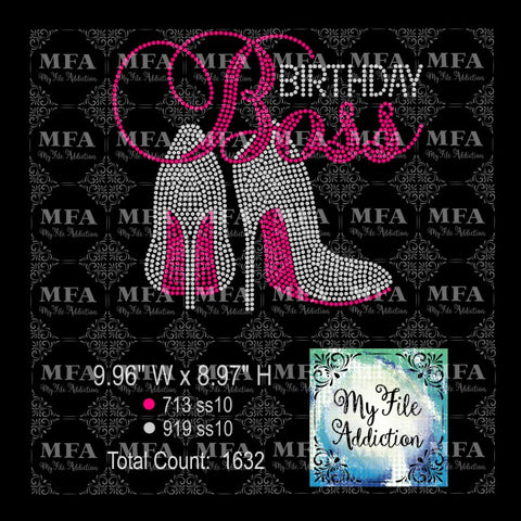 Birthday Boss with Stiletto High Heel Shoes Rhinestone Digital Download File - My File Addiction
